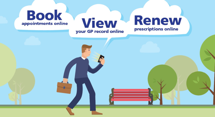 Book appointment online, view your GP record online, renew prescriptions online
