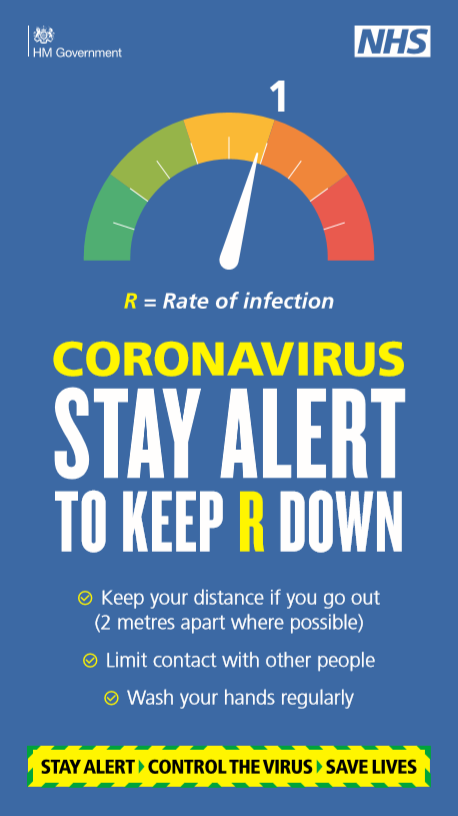 R equals rate of infection coronavirus stay alert to keep R down keep your distance if you go out 2 metres apart where possible limit contact with other people wash your hands regularly stay alert control the virus save lives