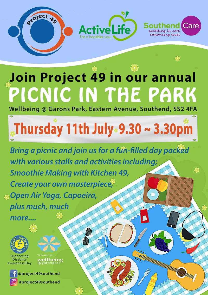 Join Project 49 in our annual picnic in the park.  Wellbeing @ Garons Park, Eastern Avenue, Southend SS2 4FA. Thursday 11th July 9.30am - 3.30pm. Bring a picnic and join us for a fun-filled day packed with various stalls and activities including: smoothie making with Kitchen 49, create your own masterpiece, open air yoga, capoeira pls much much more...